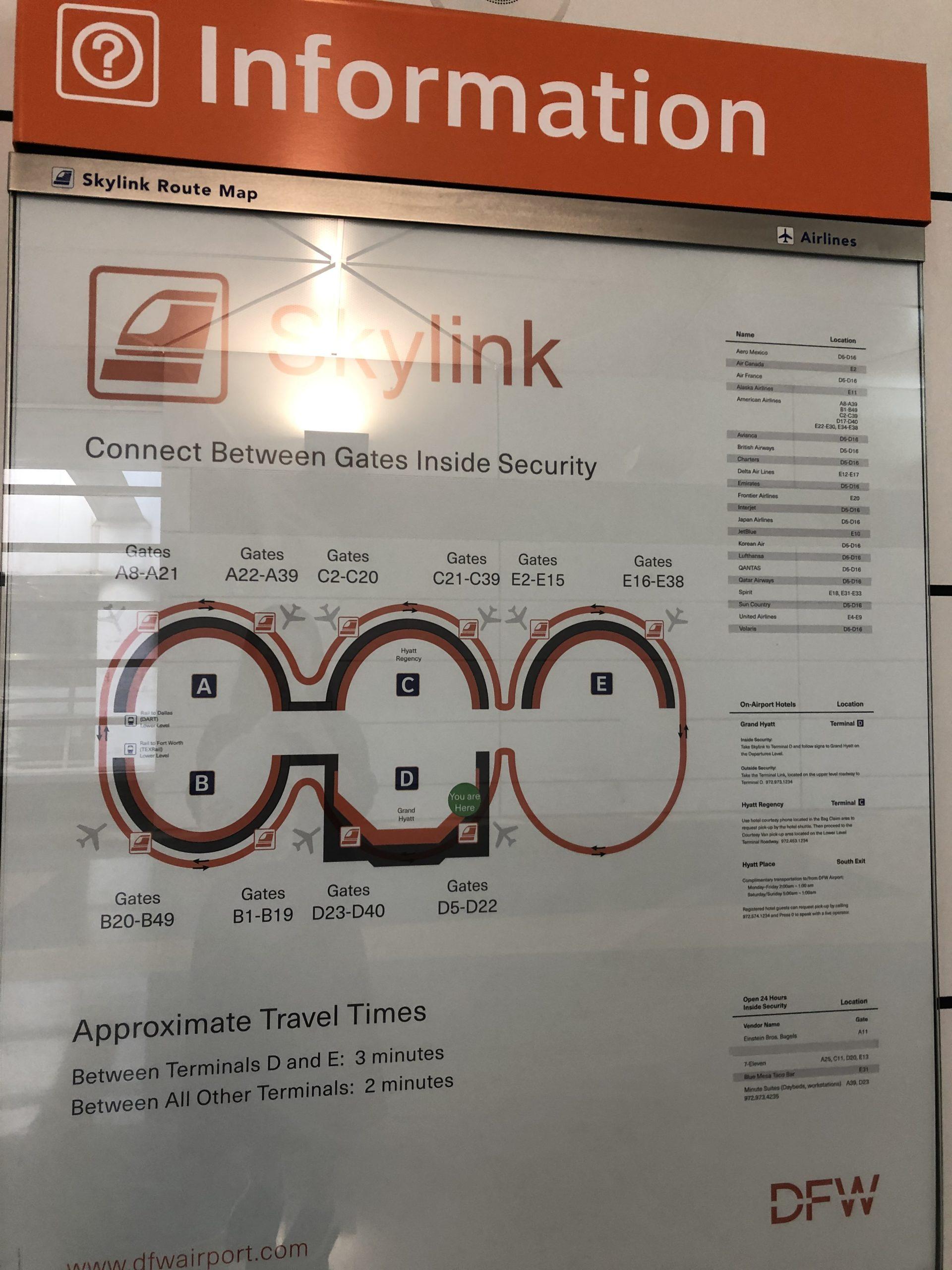 ダラス国際空港 スカリンク地図